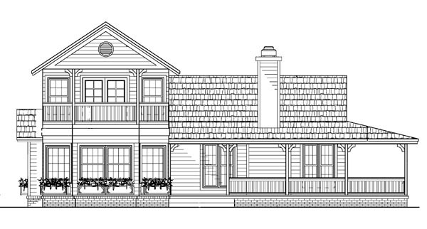 Country Farmhouse Victorian House Plan 90281 Rear Elevation