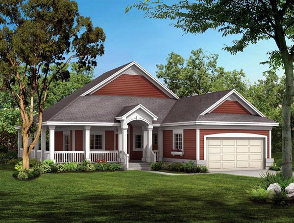 Cottage, Country, Ranch House Plan 90282 with 2 Beds, 2 Baths, 2 Car Garage Elevation