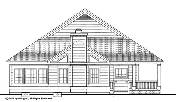 Cottage, Country, Ranch House Plan 90282 with 2 Beds, 2 Baths, 2 Car Garage Rear Elevation