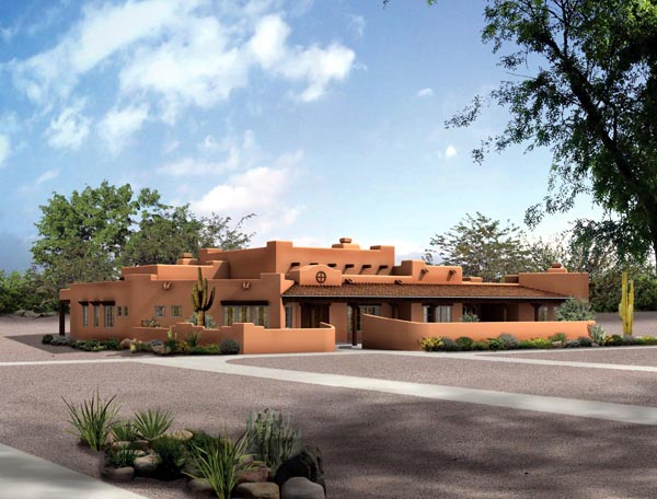 Santa Fe Southwest House Plan 90283 Elevation