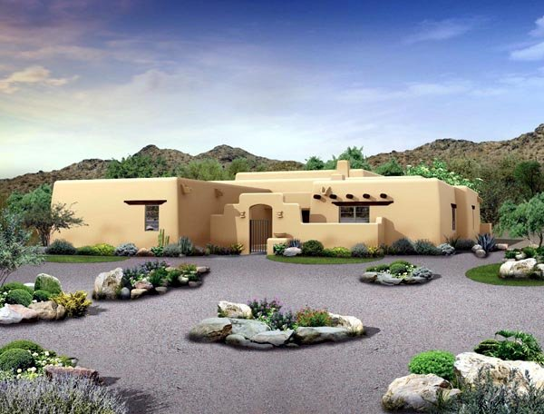Santa Fe , Southwest House Plan 90285 with 4 Beds, 3 Baths, 2 Car Garage Elevation