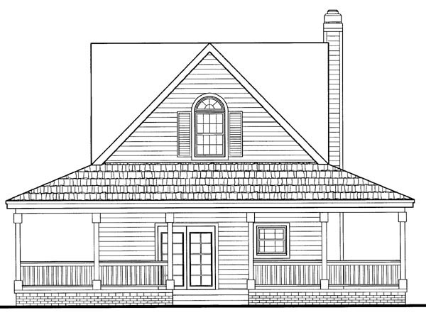 Cottage Country Farmhouse Southern House Plan 90287 Rear Elevation