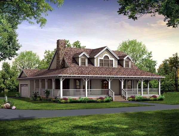 Country Farmhouse Victorian House Plan 90288