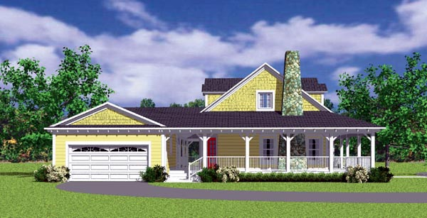 Country, Farmhouse, Victorian House Plan 90288 with 3 Beds, 2 Baths, 2 Car Garage Picture 1