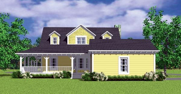 Victorian , Farmhouse , Country House Plan 90288 with 3 Beds, 2 Baths, 2 Car Garage Rear Elevation