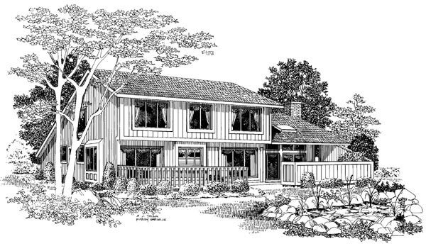 Contemporary House Plan 90296 Rear Elevation