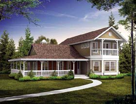 Farmhouse House Plan 90298 with 3 Beds, 3 Baths Elevation