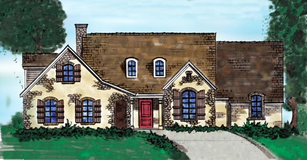 Country, European, One-Story House Plan 90300 with 3 Beds, 3 Baths, 2 Car Garage Front Elevation