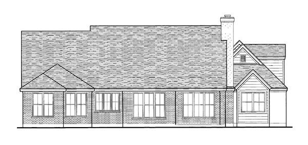 Country European One-Story Rear Elevation of Plan 90300