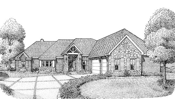 European One-Story Elevation of Plan 90306