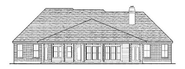 European One-Story Rear Elevation of Plan 90306