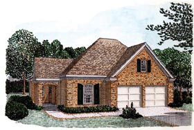 House Plan 90312 | Country European Style Plan with 1410 Sq Ft, 2 Bedrooms, 2 Bathrooms, 2 Car Garage Elevation