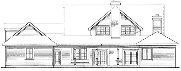 Country Farmhouse Southern House Plan 90313 Rear Elevation