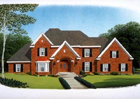 European House Plan 90316 with 4 Beds, 4 Baths, 3 Car Garage Elevation