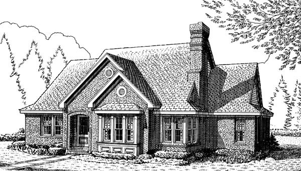 European House Plan 90317 Elevation