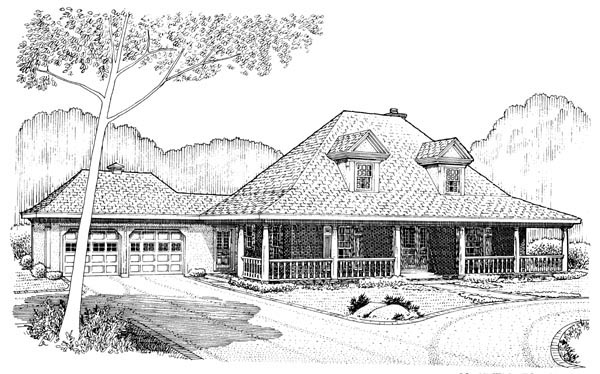 Country Farmhouse Southern House Plan 90318 Rear Elevation