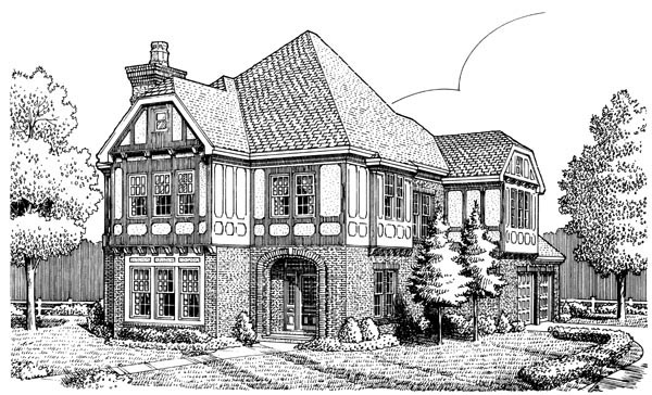 Tudor House Plan 90319 Elevation
