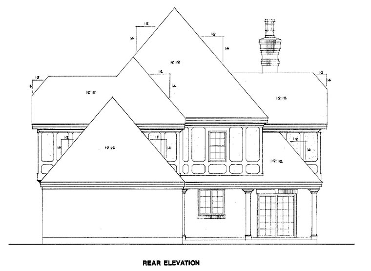 Tudor House Plan 90319 Rear Elevation
