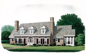 Cape Cod , Colonial House Plan 90320 with 4 Beds, 4 Baths, 3 Car Garage Elevation