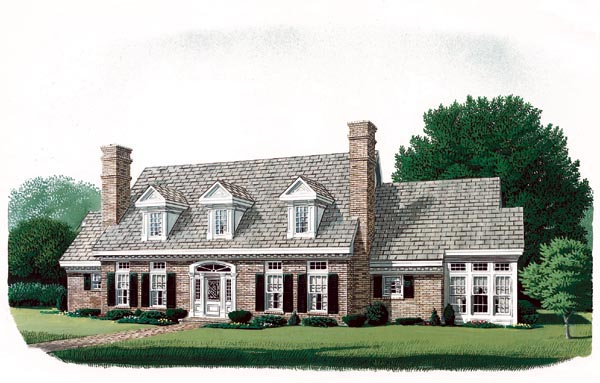 Cape Cod, Colonial House Plan 90320 with 4 Beds, 4 Baths, 3 Car Garage Elevation