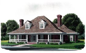 Country , Farmhouse , Southern House Plan 90322 with 4 Beds, 4 Baths, 2 Car Garage Elevation