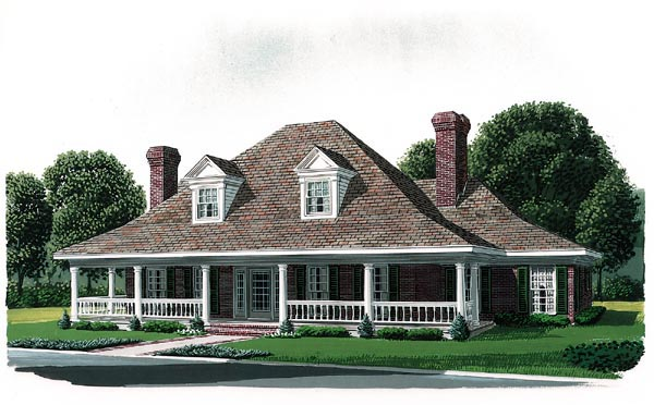 Country Farmhouse Southern House Plan 90322 Elevation