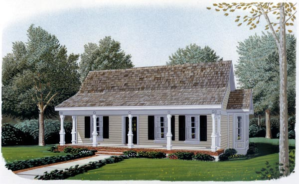 Cottage, Country, Narrow Lot, One-Story House Plan 90323 with 1 Beds, 1 Baths, 2 Car Garage Elevation
