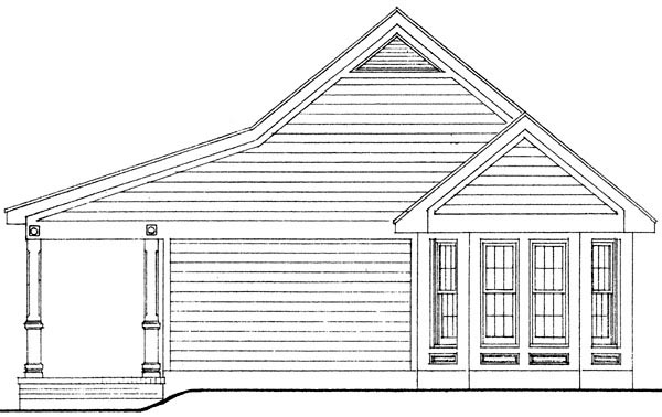 Cottage, Country, Narrow Lot, One-Story House Plan 90323 with 1 Beds, 1 Baths, 2 Car Garage Picture 1
