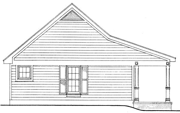 Cottage, Country, Narrow Lot, One-Story House Plan 90323 with 1 Beds, 1 Baths, 2 Car Garage Picture 2