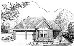 Contemporary Country European House Plan 90327 Elevation