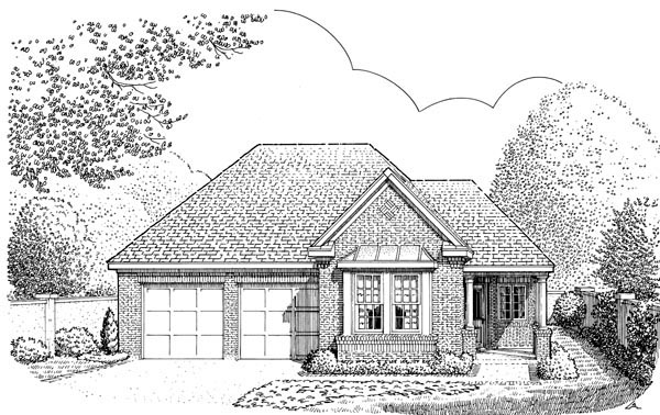 Contemporary, Country, European, One-Story House Plan 90327 with 2 Beds, 2 Baths, 2 Car Garage Elevation