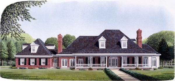Contemporary Country Craftsman Southern House Plan 90328 Elevation