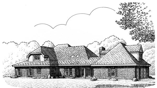 Contemporary Country Craftsman Southern House Plan 90328 Rear Elevation