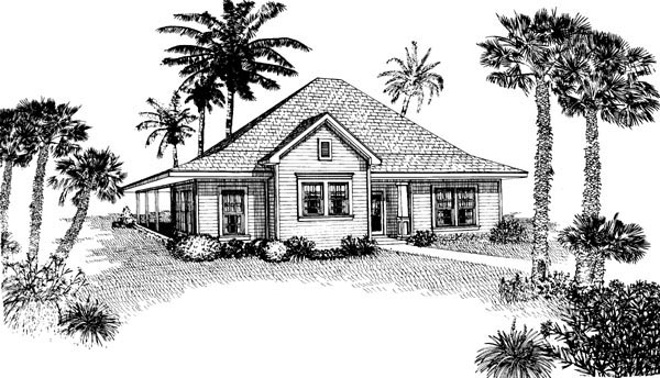 Contemporary Cottage Elevation of Plan 90329