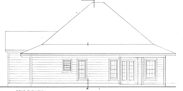 Contemporary Cottage Rear Elevation of Plan 90329