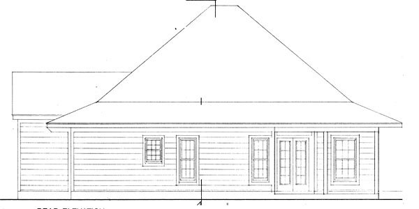 Contemporary, Cottage House Plan 90329 with 3 Beds, 2 Baths Rear Elevation
