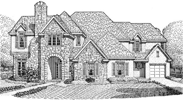 European House Plan 90330 Elevation