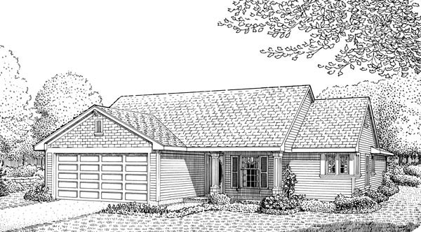 Country, One-Story House Plan 90333 with 3 Beds, 2 Baths, 2 Car Garage Elevation