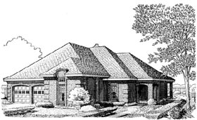 European House Plan 90334 Elevation