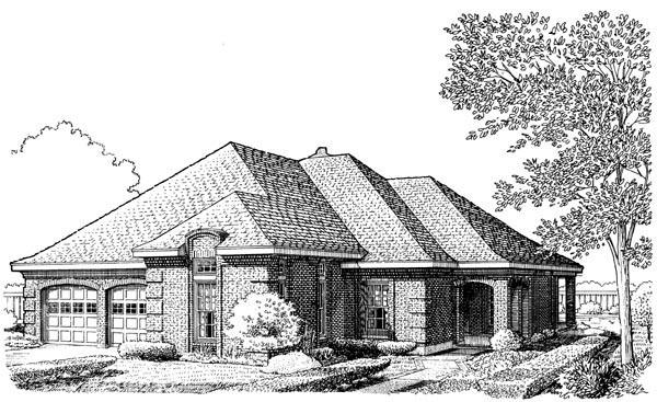 European House Plan 90334 Elevation