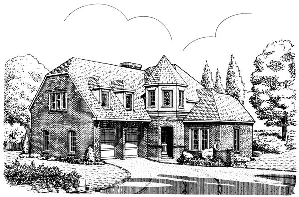 European House Plan 90339 Elevation
