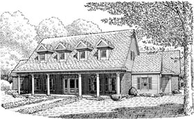Cape Cod Colonial Country Southern House Plan 90340 Elevation