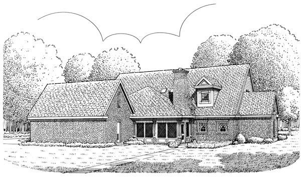 Cape Cod Colonial Country Southern House Plan 90340 Rear Elevation