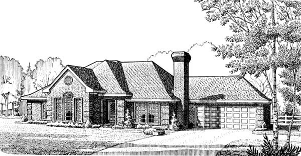 House Plan 90341 | European Style Plan with 2060 Sq Ft, 3 Bedrooms, 2 Bathrooms, 2 Car Garage Elevation