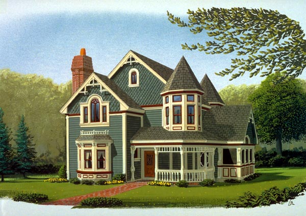 Contemporary, Country, Farmhouse, Victorian House Plan 90342 with 3 Beds, 3 Baths, 2 Car Garage Elevation