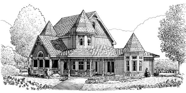 Contemporary Country Farmhouse Victorian Rear Elevation of Plan 90342