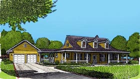 Country Farmhouse Southern House Plan 90344 Elevation