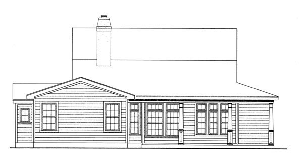 Country Farmhouse Southern House Plan 90344 Rear Elevation