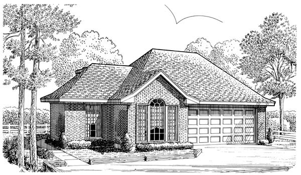 European Narrow Lot One-Story Elevation of Plan 90346