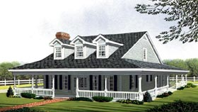 Country Farmhouse Southern House Plan 90347 Elevation